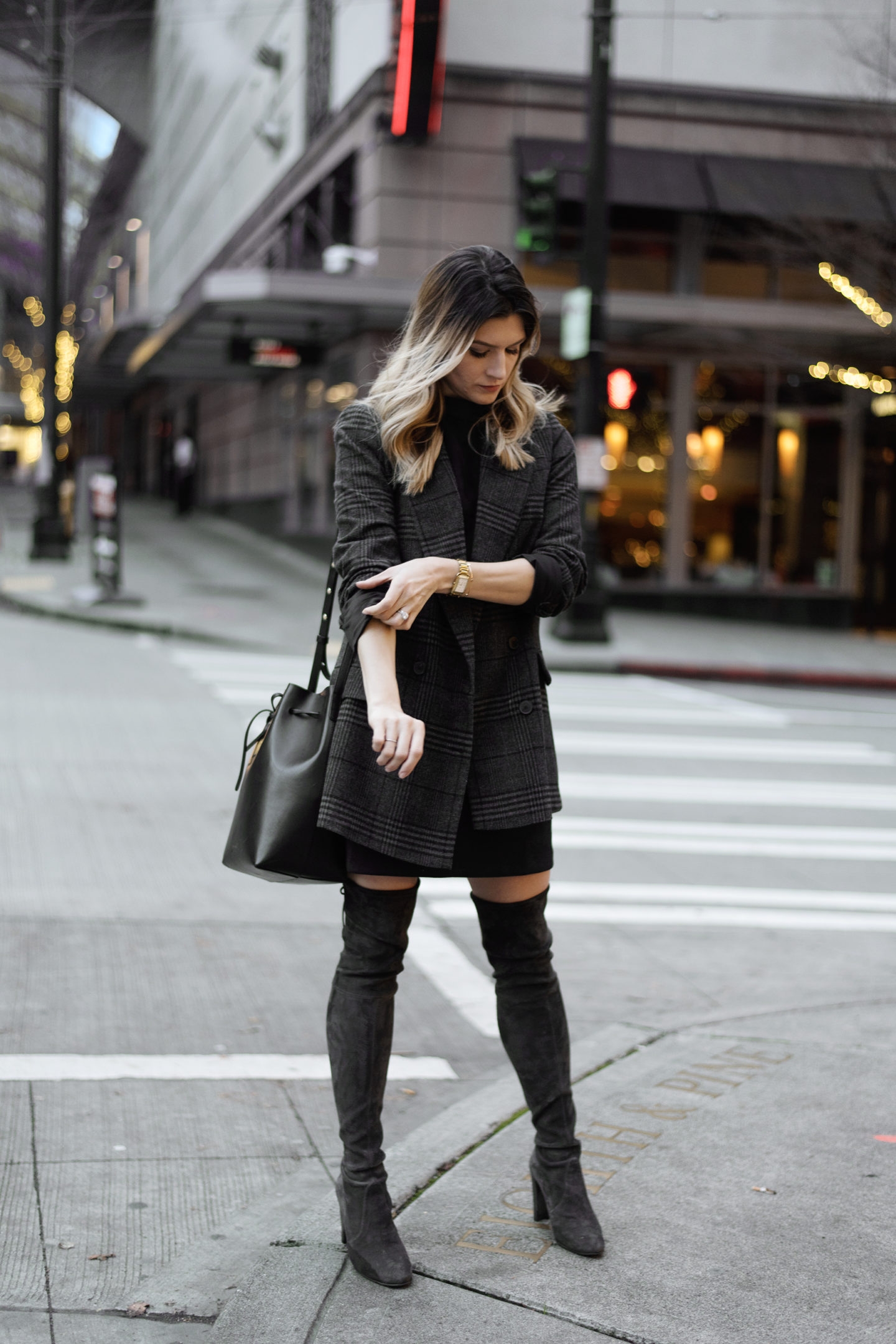 The Grey Edit-Plaid Blazer-Downtown